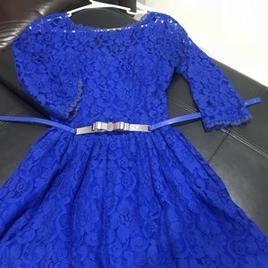 Blue lace dress with belt